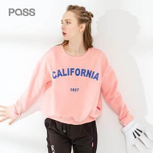 pass2017新款秋装宽松t恤女长袖字母印花圆领体恤潮