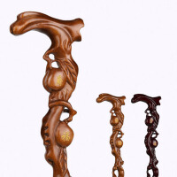 老年人福寿桃拐杖雕刻红木拐杖拐棍 老人实木质根雕手杖