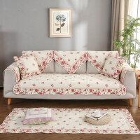 0712021618757全棉沙发垫布艺四季通用组合纯棉沙发套巾坐垫子靠背 经典玫瑰