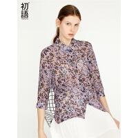 初语宽松雪纺气质上衣夏季碎花半袖女复古韩版温柔风衬衫