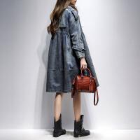 中长款风衣女2018春秋装新款韩版宽松显瘦牛仔外套时尚女装