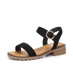 Camel/骆驼女鞋 2018夏季新品时尚休闲磨砂真皮方跟一字扣带凉鞋