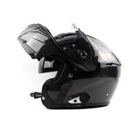 摩托车蓝牙头盔马鲁森B1进口碳纤机车巡航摩旅双镜片揭面盔 +维迈通V6 2X
