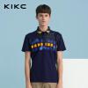 kikc男装2018新款撞色印花短袖polo衫修身t恤打底衫潮上衣