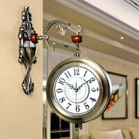 欧式钟表双面挂钟客厅大号吊钟静音石英钟金属时钟简约装饰表 合金银 16英寸