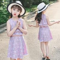 童装女童夏季中大儿童连衣裙洋气夏装裙子女宝宝假两件潮