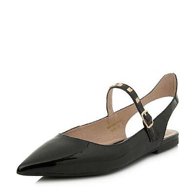 BASTO/百思图2018春季专柜同款黑色牛皮尖头简约女凉鞋AA701AH8