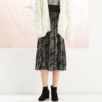 【2件1.5折价:40.4,26日0点可叠券】美特斯邦威女针织复古高腰丝绒半裙