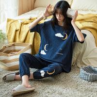 小情歌夏季纯棉睡衣女长裤短袖简约宽松加大码学生可外穿家居服两件套装z5916