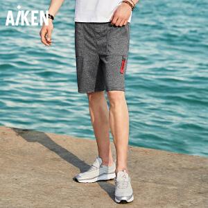 Aiken爱肯2018夏季新款个性街头黑灰色潮流运动男式学生休闲短裤