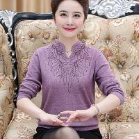 高档羊毛衫中年女秋冬装套头妈妈毛衣女40岁50中老年人针织打底衫