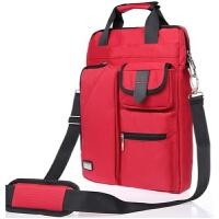 韩版大容量华硕戴尔13 14 15.6寸笔记本电脑包男女士收纳手提包 红色 【竖款】加厚升级
