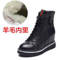 2018冬季新款内增高短靴女鞋厚底加绒皮靴平底英伦马丁靴女靴