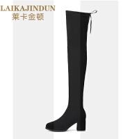 加绒磨砂高筒靴女士过膝靴2018新款秋冬季粗跟长靴长筒靴高跟靴子SN3171