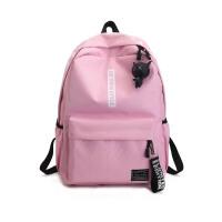 双肩包女韩版书包女原宿 高中学生男背包情侣帆布 粉色