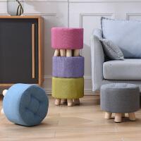 小凳子家用创意布艺圆凳时尚客厅沙发凳实木矮凳茶几凳成人小板凳