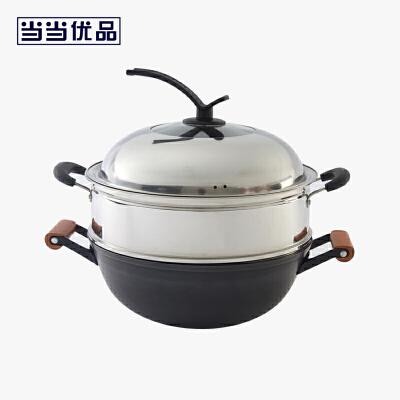 当当优品 传统铁锅精铁直边真不锈双耳木柄炖锅  32厘米当当自营 传统铁锅 32厘米 不锈