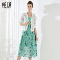 颜域品牌女装2018夏季装新款简约短款外套蕾丝单排扣镂空纯色外披