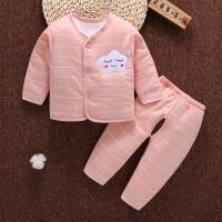 新生婴儿保暖内衣套装0-3个月宝宝夹棉初生儿加厚和尚服