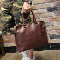 男士包包男包单肩包横款男士包 商务手提公文包休闲 韩版斜挎背包 咖啡色