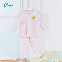 【139元3件】迪士尼Disney童装 新生儿衣服四季新款宝宝素色内衣长袖套装婴儿绑带纯棉家居服191T866