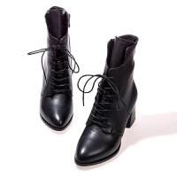 2018秋冬季新款真皮女靴高跟�R丁靴女系�Т指�短靴女加�q棉鞋靴子 黑色(正�a)