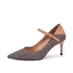 骆驼女鞋 秋季新款 时尚英伦复古格纹尖头女高跟一字式扣女鞋