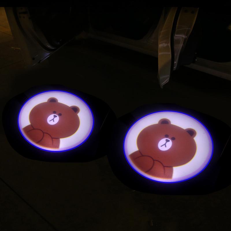 汽车车门迎宾灯开门感应灯车门灯照地投影改装饰免接线镭射照地灯 2个 布朗熊 送电池