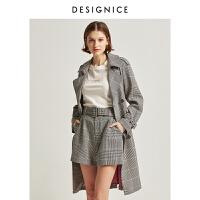 迪赛尼斯格子风衣女士时尚气质潮商场同款新款韩版显瘦外套中长款