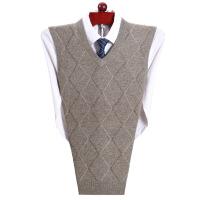 鄂尔多斯市产纯羊绒衫背心男V领加厚中年商务鸡心领羊毛马甲格子