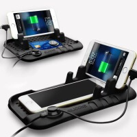 汽车内饰用品车载手机支架多功能充电器磁性硅胶防滑垫USB导航垫 海能手机防滑垫-黑色