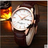 手表男学生男士手表运动石英表防水时尚潮流夜光真皮带男表韩腕表