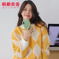【1件3折126元】韩都衣舍2019秋装新款韩版气质减龄甜美慵懒风针织毛衣IG8507璎