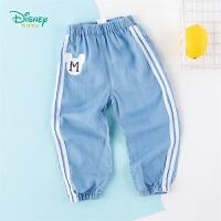 迪士尼Disney童装 男女童牛仔裤松紧脚口年春季新品侧边织带长裤儿童亲肤透气裤子