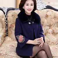 新款妈妈冬装毛呢外套50岁60中老年女装秋冬短款奶奶羊绒大衣