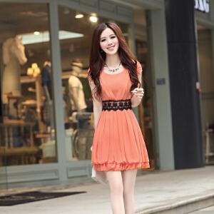 2018夏季新款女装潮气质淑女小个子裙子女韩版修身显瘦雪纺连衣裙
