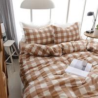 水洗棉绒格子床上用品磨毛四件套床笠1.8m床单双人加大被套三件套