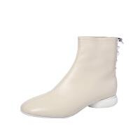 2018冬季新款休闲平底短靴英伦真皮低跟单靴方头女靴子软皮马丁靴