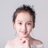 儿童公主裙头饰女童生日走秀演出大皇冠婚纱配饰花童刘海发饰发箍