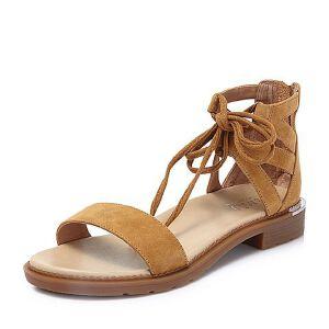 BASTO/百思图2018夏季专柜同款羊绒皮革一字带绑带女凉鞋TQX15BL8