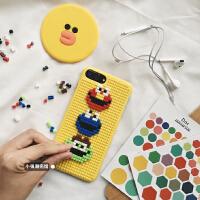苹果X手机壳个性DIY乐高积木卡通硬壳iphone6/7plus/8/XR创意 6/6S 积木DIY 黄色芝麻街