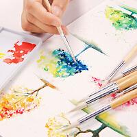 柏伦斯水彩画笔圆头羊毫水粉笔套装美术专用初学者学生用手绘颜料色彩毛笔笔专业美术生勾线笔画具画材用品