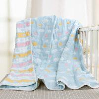 婴儿毛毯夏季薄款幼儿园儿童盖毯新生儿纯棉纱布毯子宝宝空调被子 云朵蓝 120*150cm