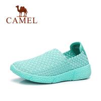 【每满200减100】Camel/骆驼女鞋 新款简约透气编织休闲平底鞋舒适套脚鞋