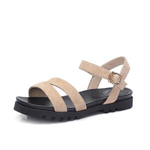 骆驼女鞋 2018夏季新款 韩版休闲平跟凉鞋舒适厚底凉鞋学生松糕鞋