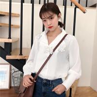 雪纺衬衫女长袖2018春装新款韩版翻领蕾丝拼接衬衣百搭显瘦上衣潮