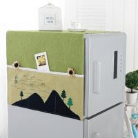 布艺冰箱罩滚筒洗衣机盖巾卡通双开门冰箱盖布韩式田园冰箱防尘罩