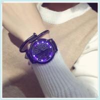 创意时尚炫酷LED触摸屏手表男女皮带防水学生情侣星空发光电子表