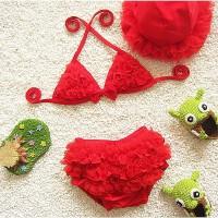 儿童游泳衣女孩子可爱比基尼婴幼儿宝宝泳装幼儿园走秀泳衣红色