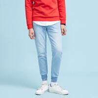 【2件3折到手价:89.7】美特斯邦威旗下4M牛仔裤男士春季新品男时尚舒适束脚牛仔慢跑裤
